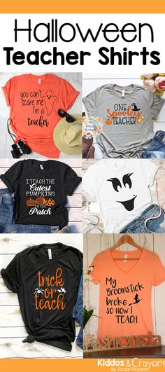 Teacher Outfit These cute Halloween teacher shirts are perfect for an easy teacher Halloween co. These cute Halloween teacher shirts are perfect for an easy teacher Halloween costume. The fun sayings on these t-shirts add some festive fun to October. Teacher Halloween Costumes, Halloween Kostüm, Vintage Halloween, Halloween Designs, Halloween Decorations, Preschool Teacher Shirts, Teaching Shirts, T Shirts For Teachers, Teacher T Shirts