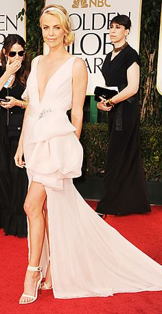 The Golden Globe Gowns We Love - Charlize Theron, 2012 from #InStyle