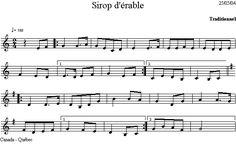 Sirop_d_erable Dion, Sheet Music, Folk Music, Folk Dance, Music School, Music Sheets