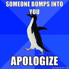 Someone bumps into you. Apologize. Socially Awkward Penguin #meme