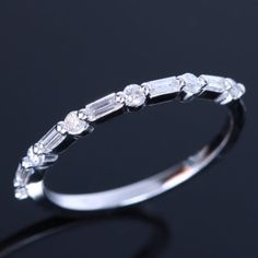 Eternity-14K-White-Gold-Pave-Natural-Diamonds-Wedding-Ring-Anniversary-Fine-Band