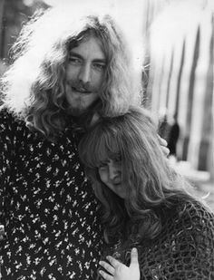 """Robert Plant with Fairport Convention's Sandy Denny, the only outside vocalist the band ever allowed in, for the raging duet with Robert on """"Battle of Evermore."""""""