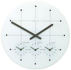 """Our White Big City Wall Clock is made of glass with a tinted underlayment. Very modern and cool clock for your classroom, office, or home office.    Shows four time zones: your time zone, New York, London and Tokyo.   Size: 17"""" dia"""