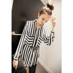 $11.25 Spring New Vertical Cross Stripe Chiffon Blouse For Women