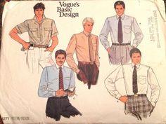 Vogue 1271 1980s Mens Shirt Pattern Chest 40 Neck 15 1/2 UNCUT mans vintage sewing pattern Vogue Basic Design  PatternGate - Craft Supplies on ArtFire