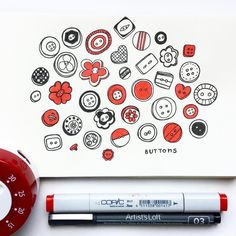 Buttons. I bought a timer to make sure that i spend only 30mins on daily drawings because I tend to get carried away a physical timer so that I won't be distracted by my phone? I dunno #CBDrawADay #adrawingaday #creativebug #doodle #sketchbook #patterndesign #copicmarker #artistsloft #dailydrawing #instaart #pamgarrison