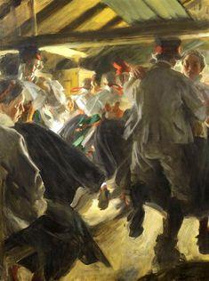 """Anders Zorn """"Stampdans i Gopsmorstugan"""" (1913). Olja, 90 x 120 cm. Zornmuseet, Mora."""