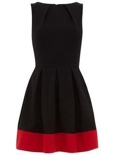 Black contrast hem dress. Love.