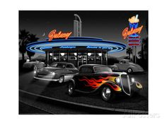 Galaxy Diner - Black and White Art by Helen Flint - AllPosters.ca