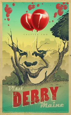 Derry, Maine - travel poster by Branko Ricov Pennywise Poster, Pennywise The Dancing Clown, Clown Horror, Horror Art, Scary Movies, Horror Movies, It The Clown Movie, Club Poster, Culture Pop