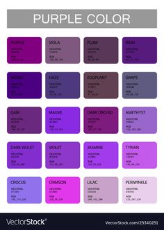 Shades Of Purple Names, Purple Color Names, Purple Colour Shades, Purple Color Palettes, Names Of Colors, Purple Paint Colors, Purple Color Chart, Color Names Chart, Color Mixing Chart