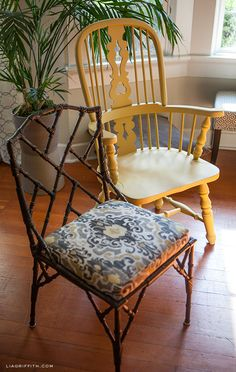 Dining room chairs with a pretty ikat seat cover.
