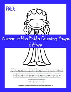 Free Women of the Bible Coloring Page-Esther. Little ones love to color pictures… Sunday School Activities, Bible Activities, Sunday School Crafts, School Fun, Bible Crafts For Kids, Bible Study For Kids, Kids Bible, Esther Biblia, Bible Heroes