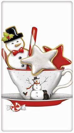 Holiday Snowman Teacup Cotton Flour Sack Dish Towel Tea Towel - x by Designer Mary Lake Thompson Christmas Tea, Christmas Clipart, Christmas Printables, Christmas Pictures, All Things Christmas, Vintage Christmas, Christmas Holidays, Christmas Crafts, Christmas Decorations