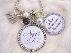 2012 GRADUATION GIFT Personalized Class of 2012 Bottle cap Inspirational Quote Keychain Necklace, High School Grad gift,Teacher appreciation. $23.50, via Etsy.