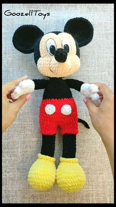 Plush Mickey Mouse - Amigurumi Crochet patterns by GoozellToys - Mickey Mouse Doll, Crochet Mickey Mouse, Disney Mickey Mouse, Amigurumi Toys, Crochet Patterns Amigurumi, Crochet Dolls, Knitting Patterns, Disney Crochet Patterns, Crochet Eyes