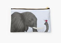 Bertha The Elephant And Her Visitor Studio Pouch, by #OneArtsyMomma  @redbubb