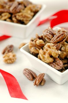 Sweet and Spicy Candied Walnuts and Pecans - A delicious DIY gift! They are great for snacking on, or for serving on green salads. Yum! --- The Nourishing Gourmet