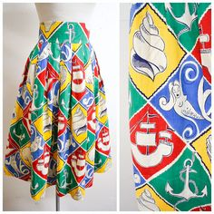 Novelty mermaid seashell anchor print harlequin check cotton skirt / long printed red blue yellow green pleated skirt - XS S Green Pleated Skirt, Anchor Print, Novelty Print, Cotton Skirt, Printed Skirts, Vintage Prints, Sea Shells, 1940s, Mermaid