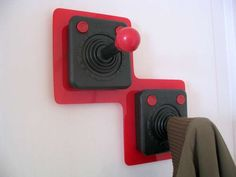 Joystick Coat Hooks - Game Room Decor