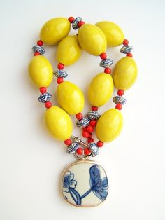Pottery Shard Necklace, Yellow Statement Necklace by polishedtwo, $30.00