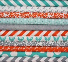 orange and teal nursery | Teal, orange, and gray great colors for a nursery! | Bedroom