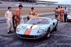 The John Wyer Automotive Ford on the pit road at Daytona Gt Cars, Race Cars, Daytona Races, Daytona 24, 24 Hours Of Daytona, Shelby Car, Vintage Race Car, Vintage Auto, Le Mans 24