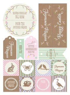 FREE printable easter tags in French. Easter Gift, Easter Crafts, Happy Easter, Printable Labels, Free Printables, Easter Printables, Free Prints, Paper Cards, Planner Stickers
