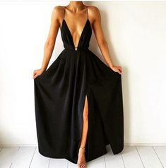 Simple-dress / A-Line Deep V-Neck Floor-Length Criss-Cross Straps Split-Side Navy Blue Chiffon Prom Dress Sexy Evening Dress, Black Evening Dresses, Black Prom Dresses, Sexy Dresses, Dress Black, Backless Bridesmaid Dress, Long Prom Gowns, Backless Prom Dresses, Dress Prom