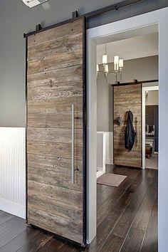 41 Amasing Wood Door Design - Modern Home Design Sliding Door Design, Sliding Wall, Hanging Sliding Doors, Wooden Sliding Doors, Custom Wood Doors, Barnwood Doors, Interior Barn Doors, Minimalist Home, Interior Decorating