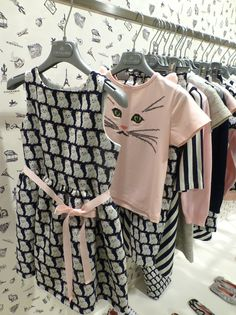 Sweet cat prints and details at Charabia for girlswear summer 2016 shown at Pitti Bimbo 81