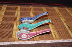 3 Assorted Asian Porcelain Rice Or Soup Spoons