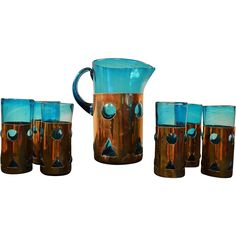 Beautiful Mid Century Hand Blown Pitcher and Glassware set from Dirty Girls Restoration at RubyLane.com