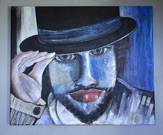 Blue boy Mix Medium painting Original art Wall decor