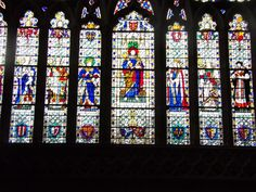 Stained glass window in Exeter cathedral