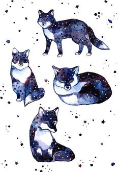 Art Print Fox Art Print Animal Watercolor Art Wall Animal Print Fox Art Cute Watercolor Space Art Print Canvas Animal Painting    !!!! The