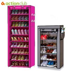 Buy New 10 Layer 9 Grid Shoes Storage Cabinet DIY Assembly Shoe Shelf Dustproof Moistureproof Large Capacity Shoe Rack at Wish - Shopping Made Fun Shoe Shelf In Closet, Shoe Shelves, Shoe Storage Cabinet, Locker Storage, Storage Rack, Diy Storage, Furniture Styles, Quality Furniture, Shelf Furniture