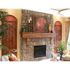More rustic type fireplace mantle