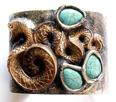 Snake and Turquoise Cuff - Mikal Winn Designs