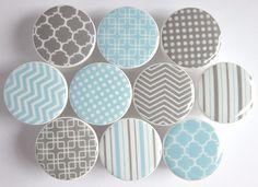 Light Blue and Gray Knobs Polka Dots Chevron Patterns
