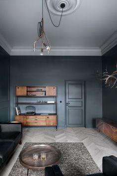 Dark walls, honey colored wood
