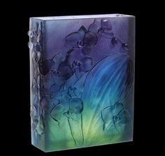 daum+glass+ +Daum+Crystal+Orchid+Dark+Blue+Vase