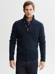 Trent Dark blue heather sweater Large Toggle shawl-collar pullover | Banana Republic