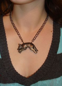 Wolf Necklace Custom Unique Cute and Bold Metallic Polymer Clay with Chain. $20.00, via Etsy.