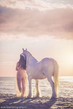 Pretty horse fantasy photo shoot at the beach.