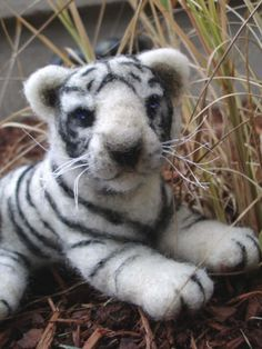 Needle felted snow tiger