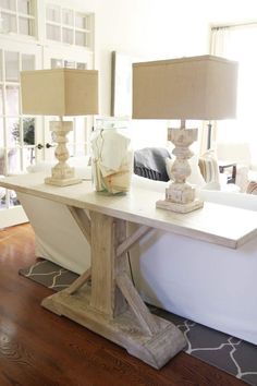36 Popular Farmhouse Sofa Table Design Ideas For Your Living Room Decor Sofa Table Design, Sofa Table Decor, Lamp Table, Table Diy, Couch Table, Table Decorations, Living Room Sofa, Living Room Furniture, Home Furniture