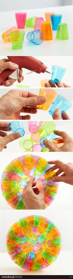 Recyled Lamp from colorful plastic cups