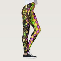 Mardi Gras Diamonds Pop Fashion Leggings - tap to personalize and get yours  #fashion #contemporary #dance #troupe #mardi Printed Leggings Outfit, Leggings Outfit Summer, Cute Leggings, Best Leggings, Leggings Fashion, Colorful Leggings, Mardi Gras Outfits, Mardi Gras Costumes, High Low Dresses Casual