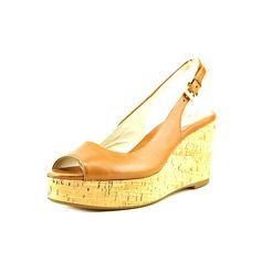 713a08baa3e MICHAEL Michael Kors Natalia Leather Peep-Toe Wedge Sandals